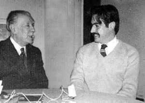 Fernando Sorrentino con Jorge Luis Borges en 1971