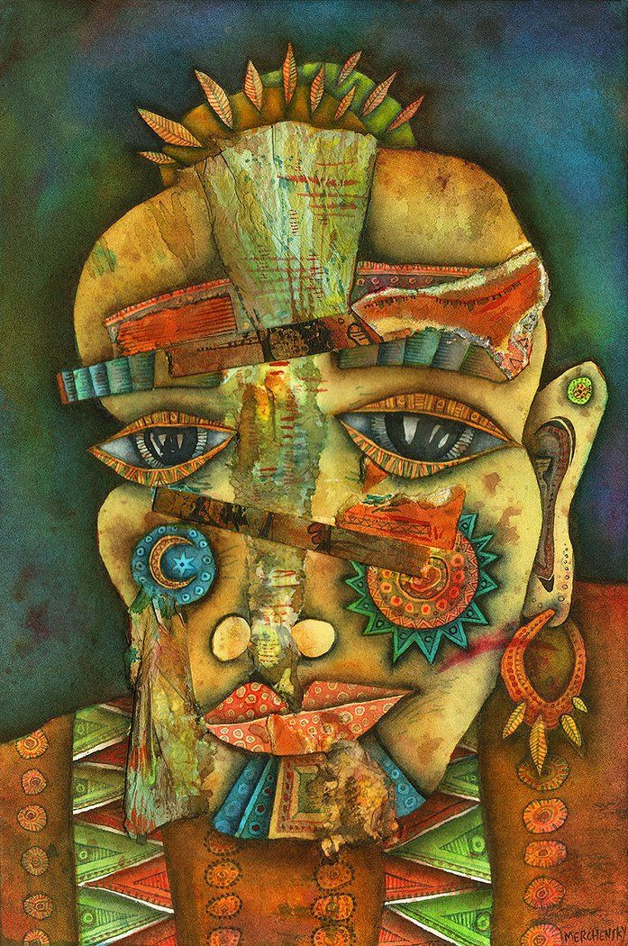 """""""El hombre primitivo"""", 2017. Tinta, acuarela y collage sobre papel Gaurro."""
